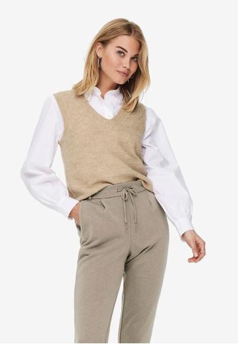 JACQUELINE DE YONG beige Elanor V-Neck Knit Vest B0FE5AA4A25002GS_1