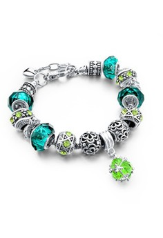 Studded Crystal Green Charm Bracelet by ZUMQA