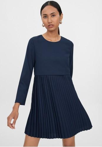 Pomelo blue Long Sleeve Loose Pleated Dress - Navy 42DEEAAB79A1D4GS_1