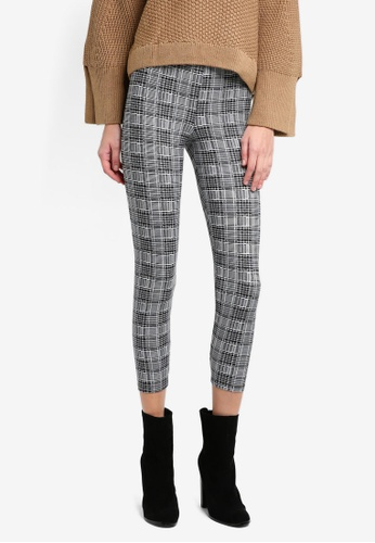 TOPSHOP black and white Petite Check Leggings TO412AA0T0W3MY_1