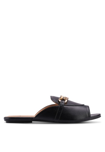 Carlton London black Chain Detail Sliders 40A4CSH561AC39GS_1