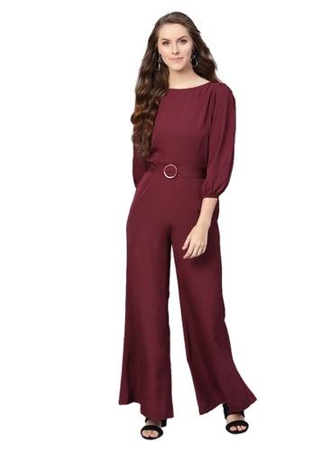 SASSAFRAS red Wine Buckle Belt Jumpsuit 37A0FAAC67FDB6GS_1