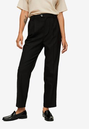 Mango black Pleat Straight Trousers 057DBAAD6CA0CBGS_1