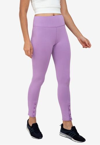 ZALORA ACTIVE purple Snap Button Hem Fitted Leggings BA57BAABCC1CA0GS_1