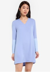 ZALORA blue Pleated Sleeves Dress 9110CAA82A99E8GS_1