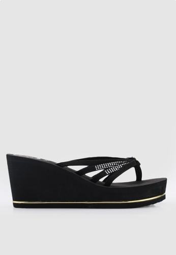 Guess 黑色 繞帶鑽飾拖鞋楔型鞋 D6644SHB1AED62GS_1