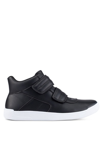 ZALORA black Faux Leather High Top Sneakers CD2E7SHFE680AAGS_1