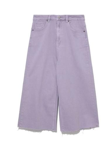 tout à coup purple Frayed 3/4 jeans 4B7A9AAC07E997GS_1