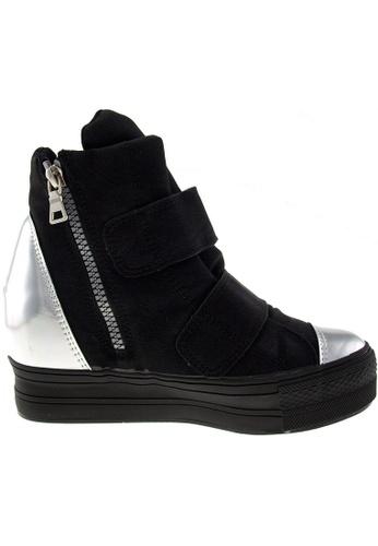 Maxstar Maxstar Women's C2 Dual Velcro Studed Hidden Heel PU High Top Sneakers US Women Size MA168SH38BLLHK_1