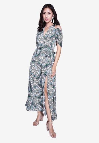 Caoros blue Paisley Mixed Print Maxi Dress 65275AA9AAF873GS_1
