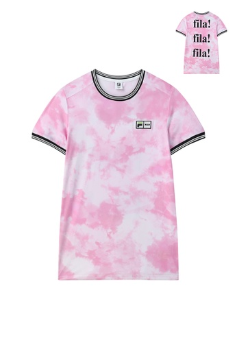 FILA pink FILA x MSGM Embroidery Logo Tie Dye T-shirt B4034AA5CDFEA8GS_1