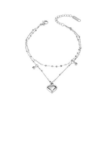 Glamorousky 白色 簡約浪漫心形雙層316L鋼手鏈配鋯石 FE20AAC4A570A4GS_1