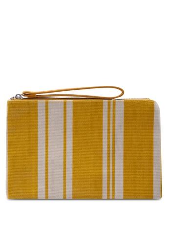 Mango yellow Striped Cosmetic Bag F969FACADB9034GS_1