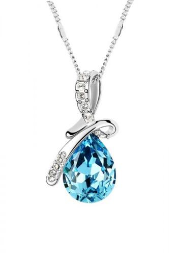 LOVENGIFTS blue LOVENGIFTS Tear Drop Pendant Necklace (Blue) LO429AC37NHAMY_1