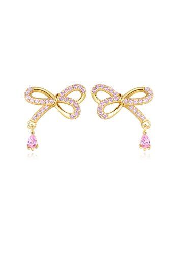 SUNRAIS gold High quality Silver S925 golden bow earrings 9DAD2AC67634BEGS_1
