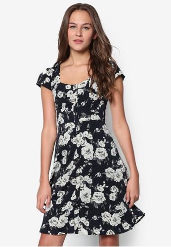 英式玫瑰修身洋裝, 服飾esprit hk store, 洋裝