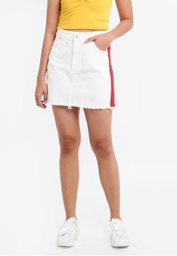 TOPSHOP white High Waisted Skirt With Stripe 5FCEDAAC15169DGS_1
