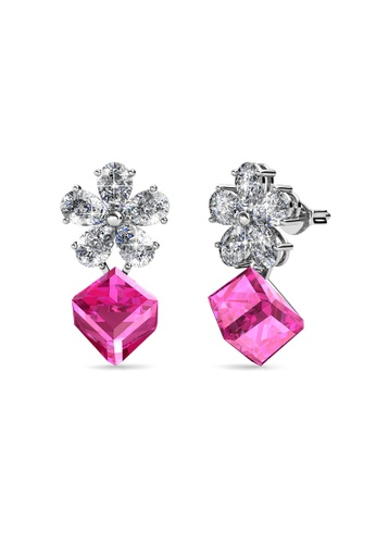 Her Jewellery pink and silver Square Coral Earrings (Pink) - Made with premium grade crystals from Austria 29579ACA409B81GS_1