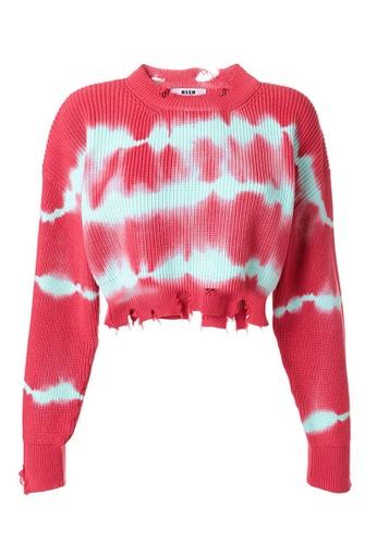MSGM 紅色 MSGM Tie-Dye Raw Edge Cropped 上衣(紅色) 8F07BAAFAB0C85GS_1