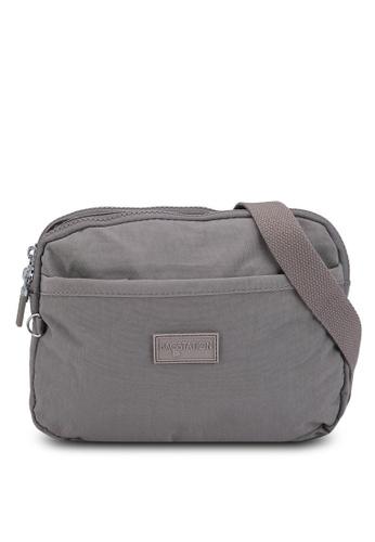 Bagstationz grey Crinkled Nylon Dual Zip Sling Bag DF479AC80AE4D3GS_1