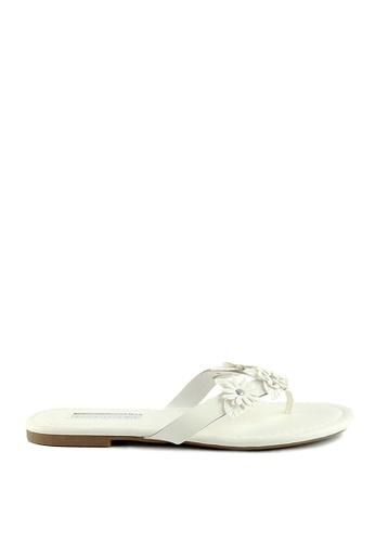 London Rag 白色 白色花朵平底托凉鞋 C8145SHB1E13D7GS_1