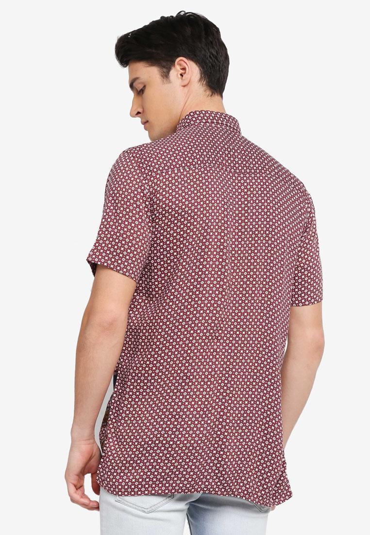 Print Paisley Topman Sleeve Black Shirt Short Through Button SF664q
