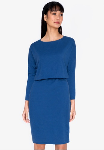 ZALORA BASICS blue Boat Neck Jersey Dress 209C1AAF9F2BAEGS_1