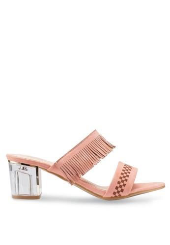 Berrybenka 粉紅色 格紋流蘇高跟鞋 81626SH88AD6F6GS_1