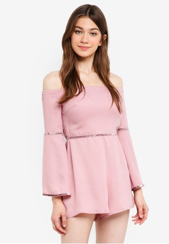 Something Borrowed pink Off Shoulder Romper With Trim Detail 991A9AA9026B18GS_1