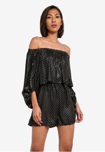 MISSGUIDED black Dobby Spot Double Layer Bardot MI511AA0S2XDMY_1