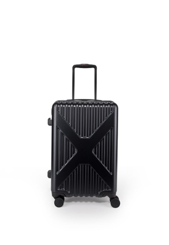 """Lushberry black and silver Axel Hardcase Cabin Size Luggage 20"""" 39C90ACF874FDBGS_1"""