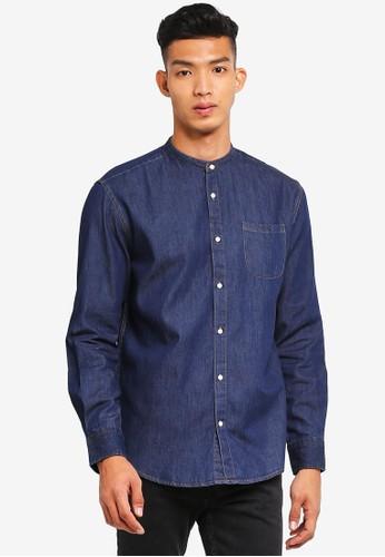 threads by the produce blue Denim Mandarin Shirt 5AD58AA03EBF3CGS_1