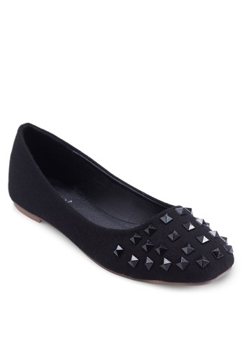 簡約鉚釘平底鞋, 女鞋, 芭蕾平esprit香港門市底鞋