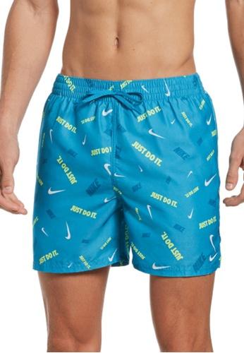 "Nike blue Nike Swim Men's Logofetti Lap 5"" Volley Short DBFE7USD69520EGS_1"