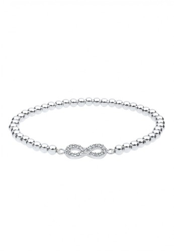 Elli Germany white 925 Sterling Silver Gelang Infinity Swarovski® Crystal Putih BE238AC87XAQID_1