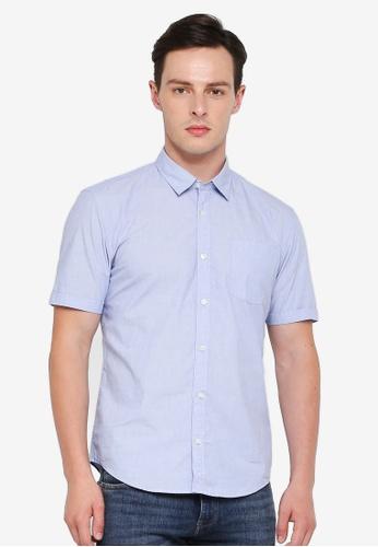 ESPRIT 藍色 短袖襯衫 803D7AAC517C31GS_1