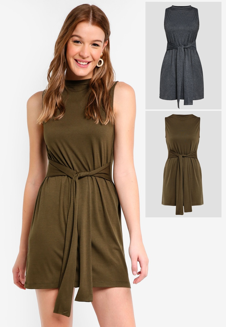 Mini Marl Basic 2 Dress pack ZALORA Tie Green Waist Grey Dark BASICS wOIFxq