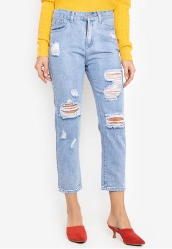 Balaynor blue Distressed Boyfriend Jeans D5140AA823893BGS_1