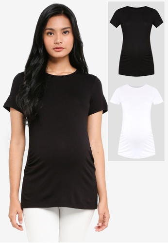 Dorothy Perkins multi Maternity 2 Pack Tee Black and White C023CAA768347DGS_1
