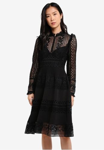French Connection black Orabelle Lace Long Sleeve Highneck Dress FR878AA0SE5KMY_1