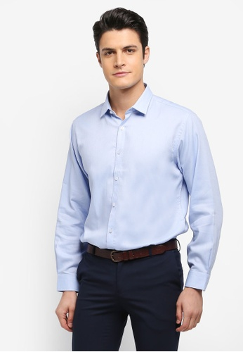 Kent & Crew blue Basic Custom Fit Long Sleeve Shirt FAB80AA51522DCGS_1