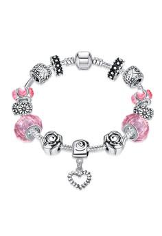 H031 Snake Chain Glass Stone Rose Carved Beads Heart Pandora Bracelet