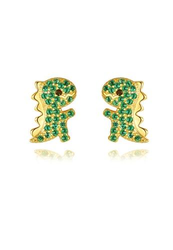 SUNRAIS gold High quality Silver S925 golden small dinosaur earrings A474FAC92BDDC6GS_1