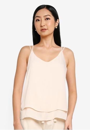 JACQUELINE DE YONG 米褐色 Layer 細肩帶上衣 4CF82AA2637B36GS_1