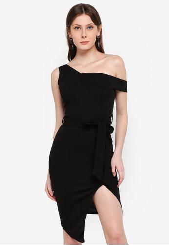 AX Paris black One Shoulder Asymmetric Dress 98E83AA36726B5GS_1