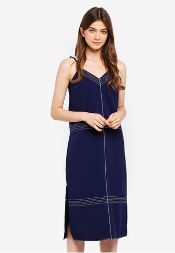Something Borrowed navy Contrast Stitching Midi Dress 8FB76AA88BCD2EGS_1