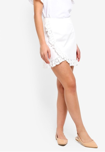 ZALORA white Mini Skirt With Ruffles C5F3CAA013C89EGS_1