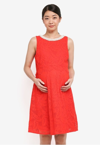 Spring Maternity red Maternity Cara Embellishment Dress CFB62AABF82EB8GS_1