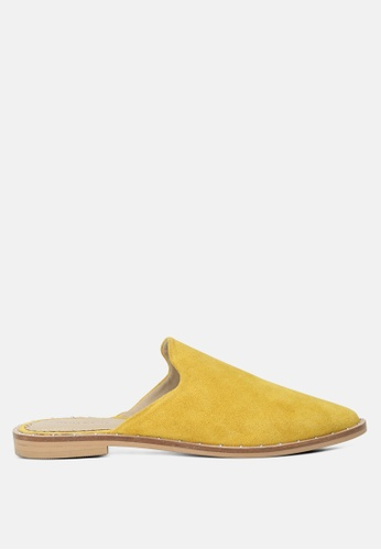 RAG & CO yellow Mustard Suede Leather Mules 4A02BSH62A9D90GS_1