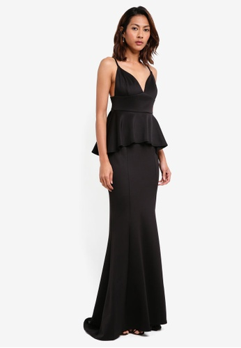 Goddiva black V Neck Peplum Maxi Dress 9E581AA4D91B3FGS_1